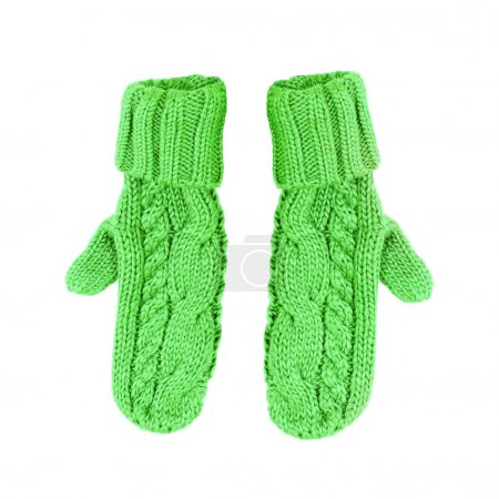 Photo for Pair of colored knitted mittens Isolate on white background - Royalty Free Image