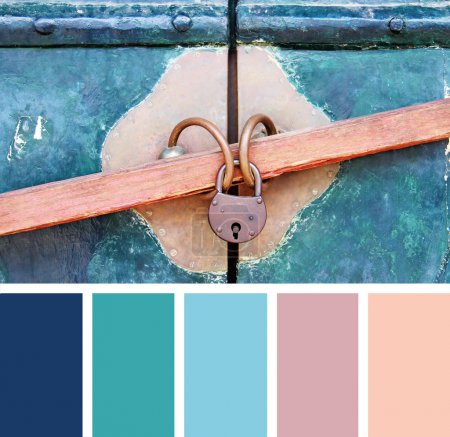 Closeup wooden door with lock,  color palette swatches