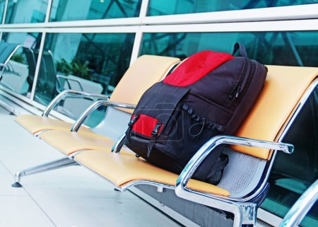Single backpack at the airport