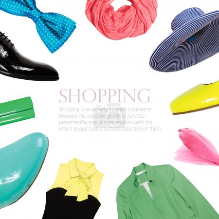 Bright collage collection of summer clothes