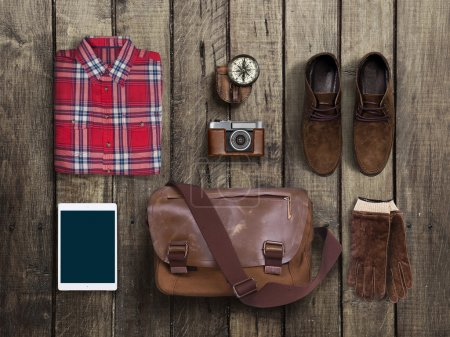 Photo for Hipster clothes and accessories on a wooden background - Royalty Free Image
