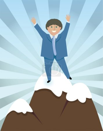 Illustration for Jubilant man in a suit celebrates reaching the top of a mountain - Royalty Free Image