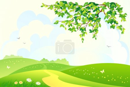 Illustration for Vector illustration of a beautiful green hilly landscape - Royalty Free Image