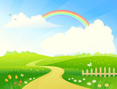 Vector illustration of a beautiful hilly landscape with a rainbow