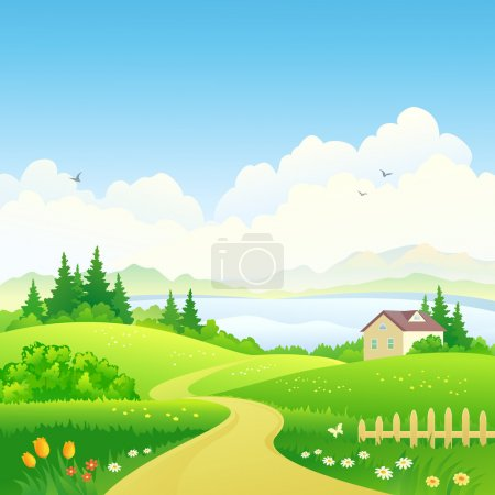 Illustration for Vector illustration of a beautiful green scenery - Royalty Free Image