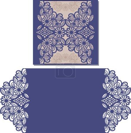 Paper cut out card. Laser cut pattern for invitati...