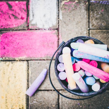 colorful chalks for children