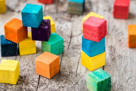 Photo for Colorful wooden building blocks. Selective focus - Royalty Free Image