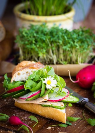 Photo for Baguette with green pesto, thin slices of vegan sausage and vegetables. Garnished with fresh daisy. Selective focus. - Royalty Free Image