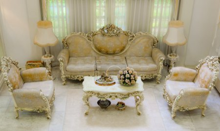 Upper angle of a living room with luxurious and classical retro style furniture