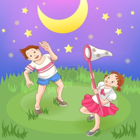 Two cartoon children boy and girl couple is catching stars in the field at night, create by vector