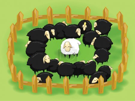 Cartoon white sheep in the flock of black sheep (opposite side) create by vector