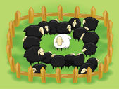 White sheep in the flock of black sheep In this day nice kind unselfish and pure people are in the black sheep's society and they are hard to survive Diversity metaphor concept (cartoon vector)