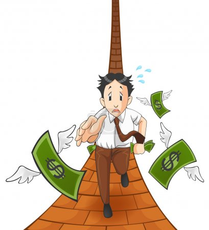Money is flying away from the pocket of office worker, investor, or businessman. It is because of inflation, economic recession, or business loss? Cartoon vector (with track)