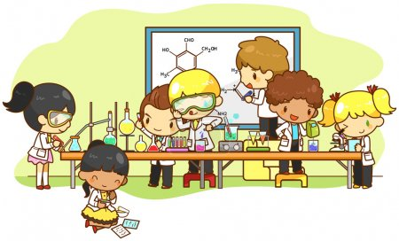 Cartoon scientist children are studying and working and experimenting chemistry science in the laboratory, create by vector