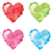 4 colors watercolor paint illustration of splatter love heart icon sign symbol set create by vector