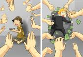 Suffering between the rich businessman and the poor beggar guy with hands wanting greedy and rejecting in diversity concept, create by cartoon vector