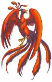 Illustration of Chinese Phoenix bird from China mythical traditional legendary monster beast in isolated background create by vector