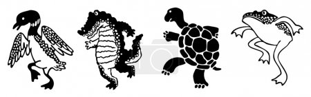 Illustration for Four silhouette wetland animals crane heron turtle crocodile alligator frog toad stepping in parade with Asian Chinese or Japanese oriental style icon, create by vector - Royalty Free Image
