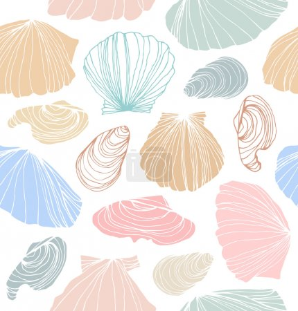 Seamless marine pattern with shells