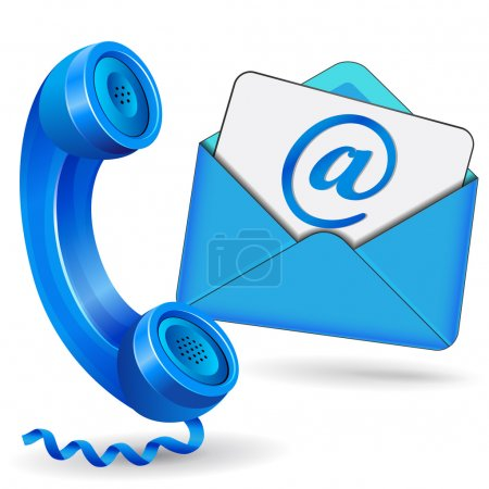 Illustration for Vector illustration of contact icon with phane and mail envelope - Royalty Free Image