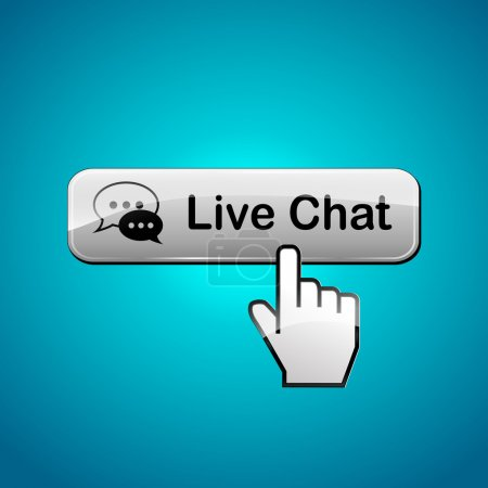 Illustration for Illustration of live chat button on blue background - Royalty Free Image