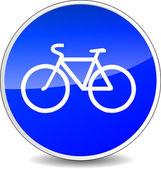 Illustration of circle blue icon for bicycle