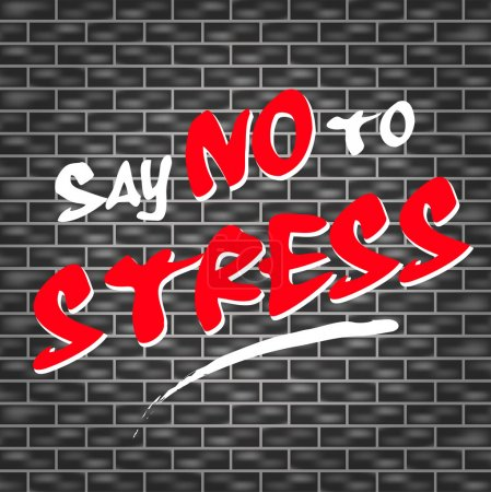 Illustration for Illustration of dark wall with graffiti for no stress - Royalty Free Image