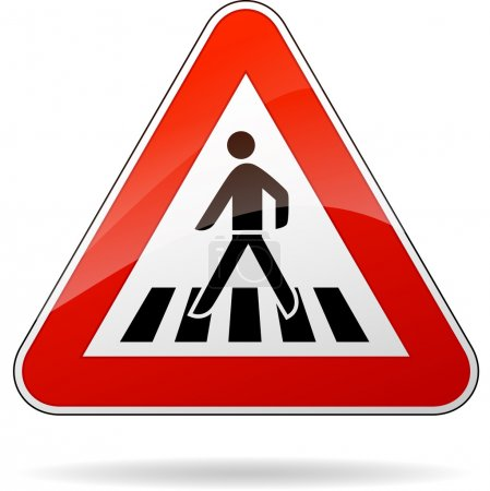 Illustration for Illustration of triangular warning sign for pedestrian crossing - Royalty Free Image