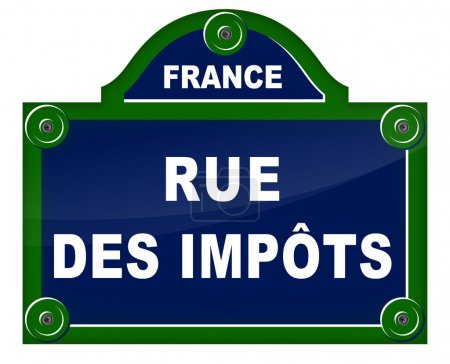 Illustration for French translation of taxes street blue sign - Royalty Free Image