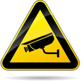 Illustration of security camera triangle yellow sign