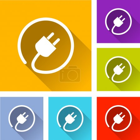 Illustration for Illustration of flat design set icons for electric plug - Royalty Free Image
