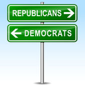 Illustration of republicans and democrats directions signs