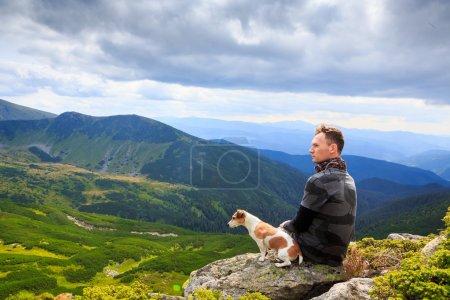 Man dog and nature beauty