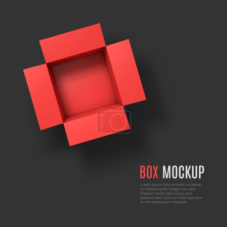 Open box mockup template. Top view.