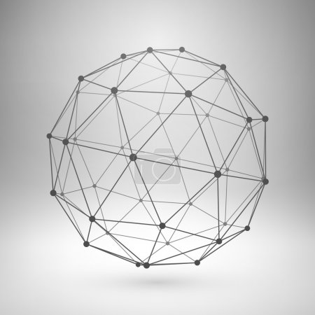 Illustration for Wireframe mesh polygonal element. Sphere with connected lines and dots. Vector Illustration EPS10. - Royalty Free Image
