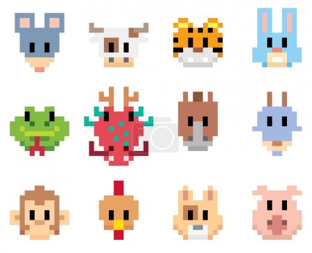 Animal cartoon pixel