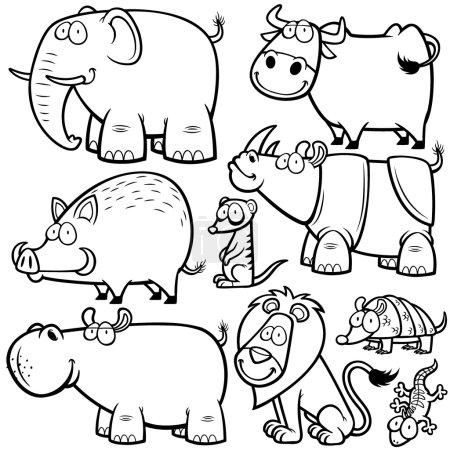 Photo pour Illustration vectorielle de dessins animaliers d'animaux sauvages - Livre à colorier - image libre de droit