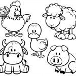 Vector Illustration of Cartoon Animals farm set - Coloring book