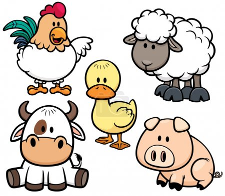 Illustration for Vector Illustration of Cartoon Animals farm set - Royalty Free Image