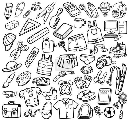 Photo pour Illustration vectorielle de différents objets - Livre à colorier - image libre de droit