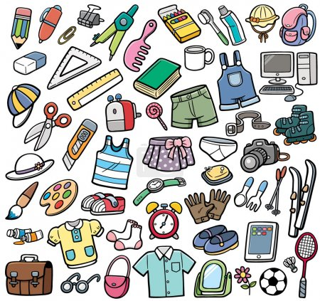 Illustration pour Vector Illustration of Different objects - image libre de droit