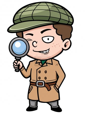 Illustration for Vector illustration of Cartoon detective with magnifying glass - Royalty Free Image