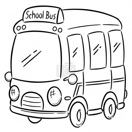 Illustration for Vector illustration of School bus - Coloring book - Royalty Free Image