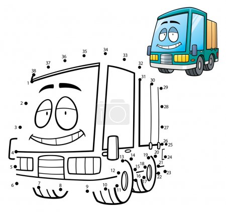 Illustration for Vector Illustration of Education game dot to dot - Truck - Royalty Free Image