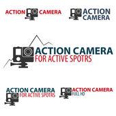 Set Action camera logo Camera for active sports Ultra HD 4K