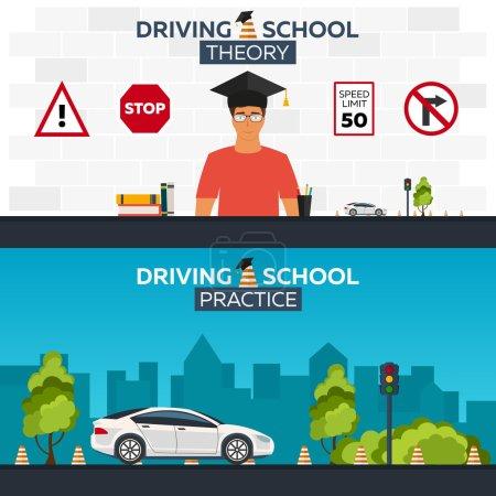 Illustration pour Illustration d'école de conduite. Auto. Auto Education. Les règles de la route. Théorie et pratique - image libre de droit