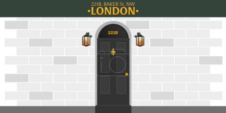 Sherlock Holmes. Detective illustration. Illustration with Sherlock Holmes. Baker street 221B. London. Big Ban