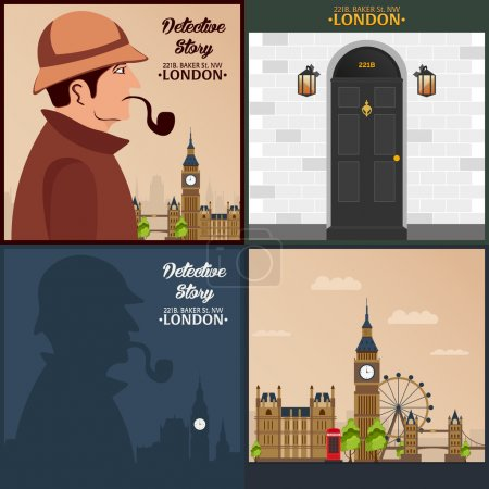 Sherlock Holmes set. Detective illustration. Illustration with Sherlock Holmes. Baker street 221B. London. Big Ban