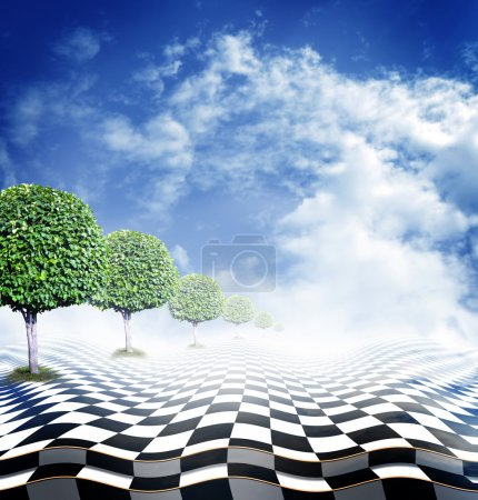 Illusionäre Schachfläche mit grünen Bäumen